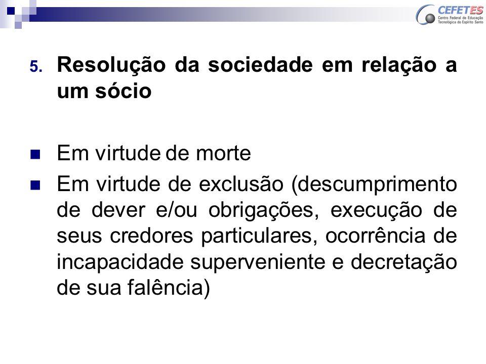 5. Resolução da sociedade em relação a um sócio Em virtude de morte Em virtude de exclusão (descumprimento de dever e/ou obrigações, execução de seus