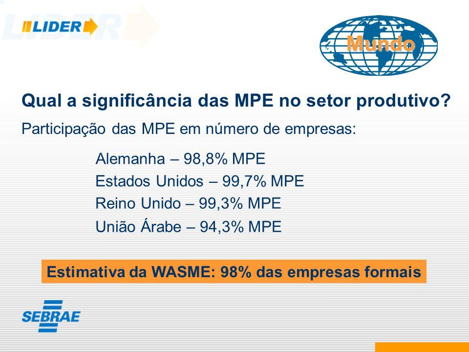 Mundo Qual a significância das MPE no setor produtivo? Participação das MPE em número de empresas: Alemanha – 98,8% MPE Reino Unido – 99,3% MPE União