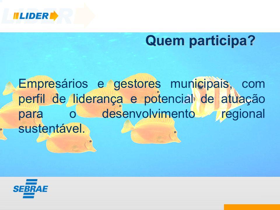 Quem participa? Empresários e gestores municipais, com perfil de liderança e potencial de atuação para o desenvolvimento regional sustentável.