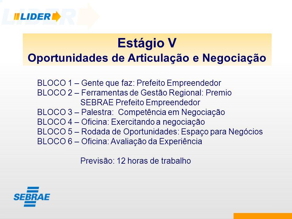 Estágio V Oportunidades de Articulação e Negociação BLOCO 1 – Gente que faz: Prefeito Empreendedor BLOCO 2 – Ferramentas de Gestão Regional: Premio SE