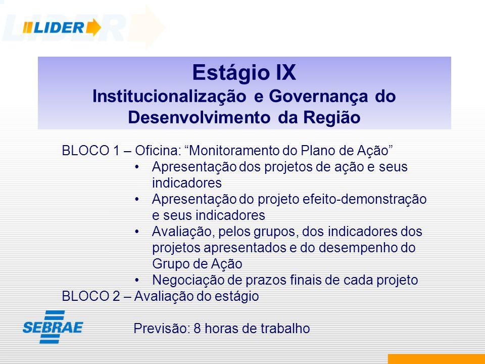 Estágio IX Institucionalização e Governança do Desenvolvimento da Região BLOCO 1 – Oficina: Monitoramento do Plano de Ação Apresentação dos projetos d