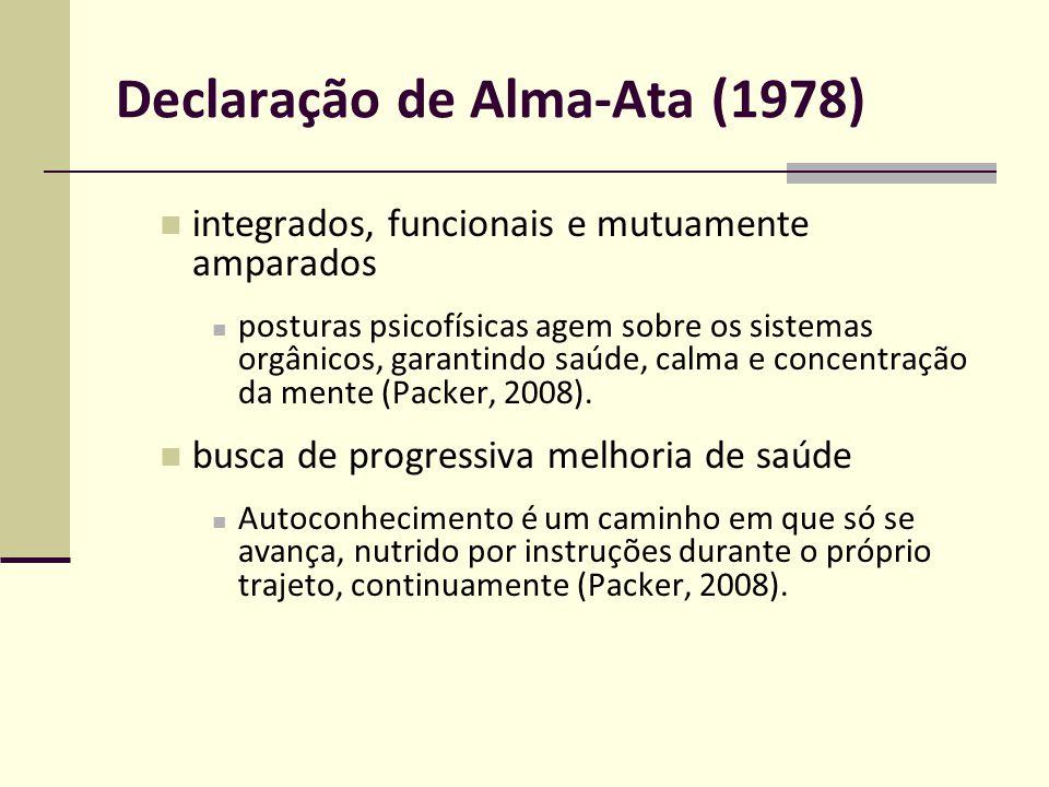 Declaração de Alma-Ata (1978) integrados, funcionais e mutuamente amparados posturas psicofísicas agem sobre os sistemas orgânicos, garantindo saúde,