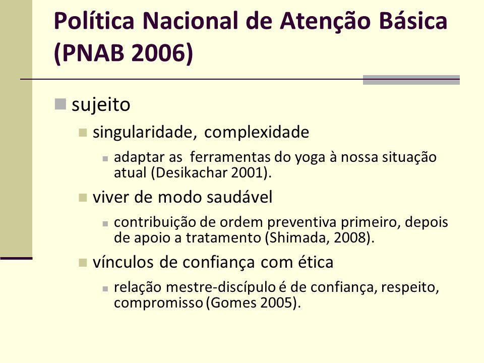 Política Nacional de Atenção Básica (PNAB 2006) sujeito singularidade, complexidade adaptar as ferramentas do yoga à nossa situação atual (Desikachar