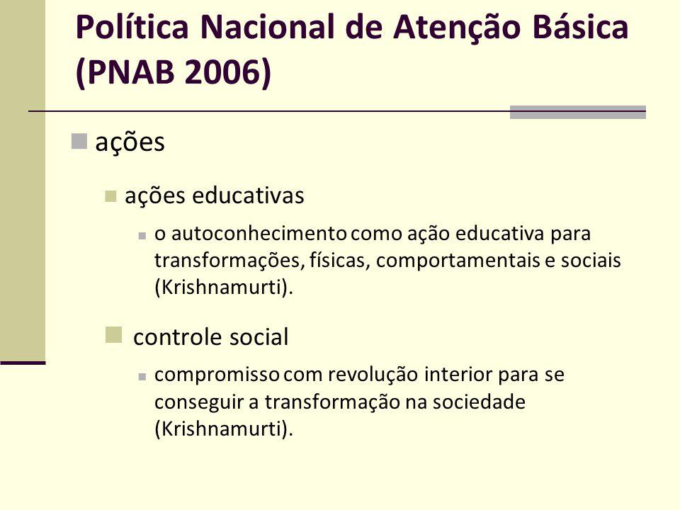 Política Nacional de Atenção Básica (PNAB 2006) ações ações educativas o autoconhecimento como ação educativa para transformações, físicas, comportame