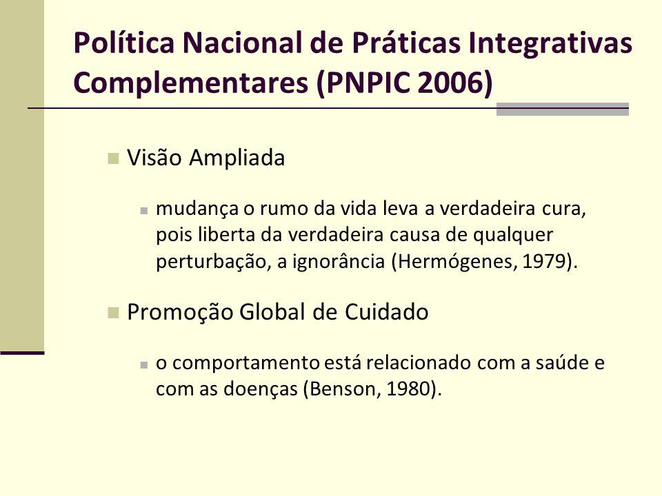 Política Nacional de Práticas Integrativas Complementares (PNPIC 2006) Visão Ampliada mudança o rumo da vida leva a verdadeira cura, pois liberta da v