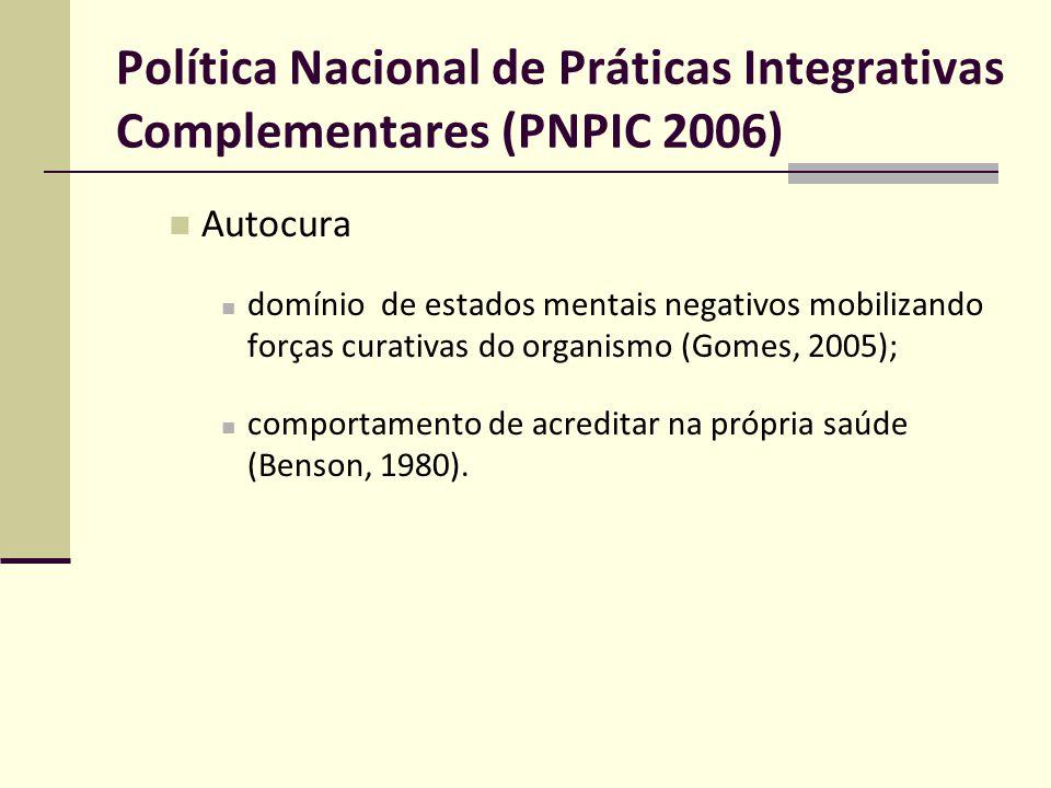 Política Nacional de Práticas Integrativas Complementares (PNPIC 2006) Autocura domínio de estados mentais negativos mobilizando forças curativas do o