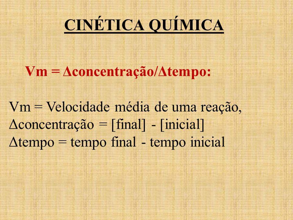 Vm = Δconcentração/Δtempo: Vm = Velocidade média de uma reação, Δconcentração = [final] - [inicial] Δtempo = tempo final - tempo inicial CINÉTICA QUÍM