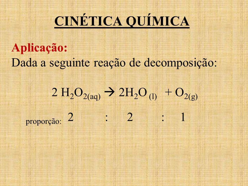 Aplicação: Dada a seguinte reação de decomposição: 2 H 2 O 2(aq) 2H 2 O (l) + O 2(g) proporção: 2 : 2 : 1