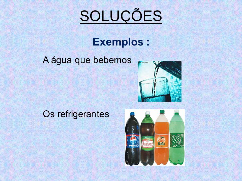 SOLUÇÕES Exemplos : A água que bebemos Os refrigerantes
