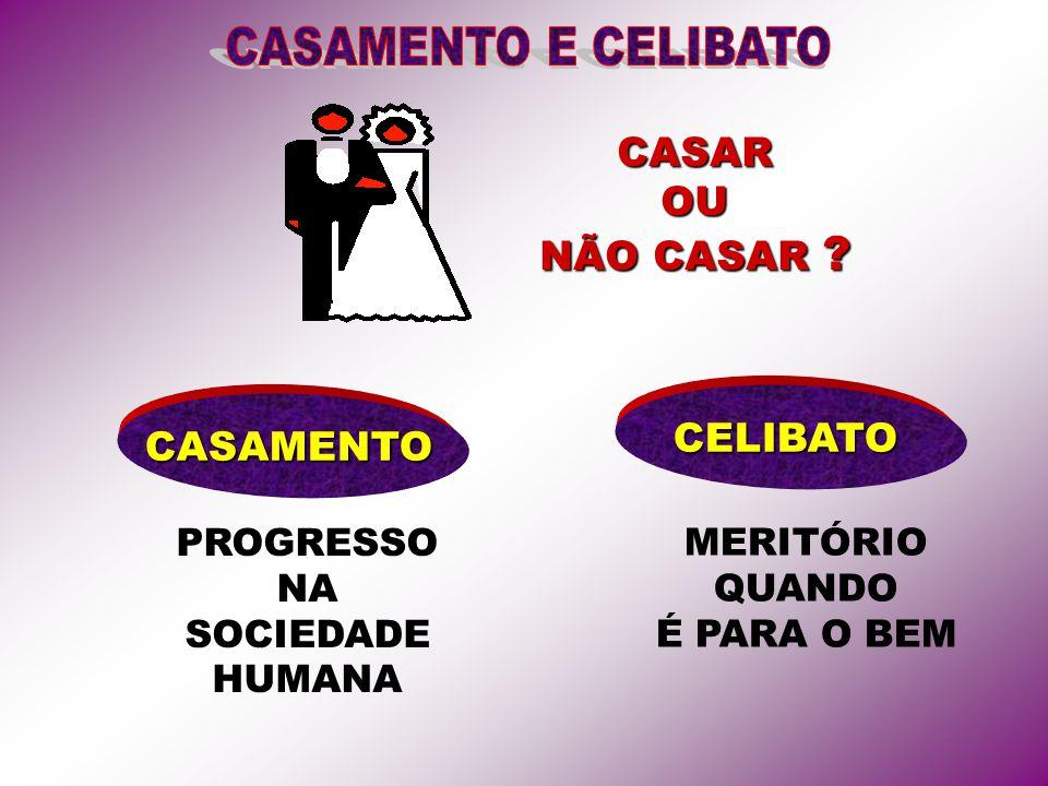 CASAROU NÃO CASAR CASAMENTO PROGRESSO NA SOCIEDADE HUMANA MERITÓRIO QUANDO É PARA O BEM CELIBATO