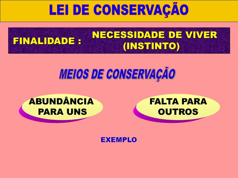 NECESSIDADE DE VIVER (INSTINTO) ABUNDÂNCIA PARA UNS FALTA PARA OUTROS III.
