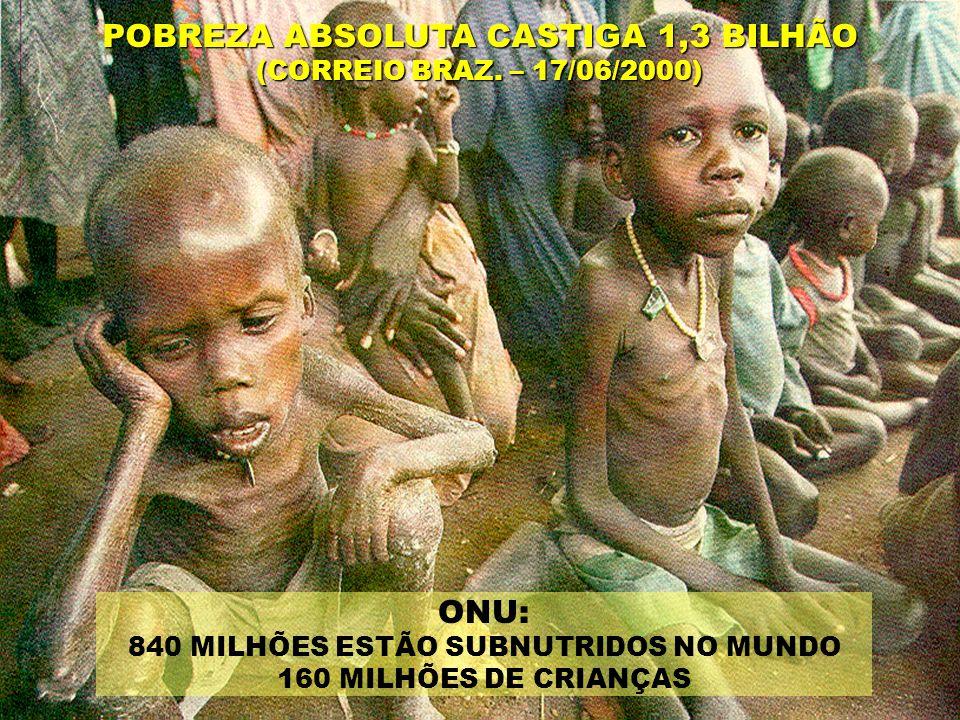 ONU: 840 MILHÕES ESTÃO SUBNUTRIDOS NO MUNDO 160 MILHÕES DE CRIANÇAS POBREZA ABSOLUTA CASTIGA 1,3 BILHÃO (CORREIO BRAZ.