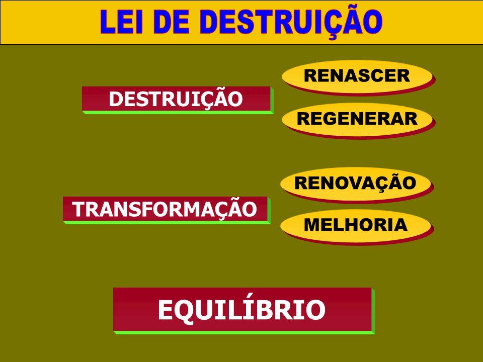 DESTRUIÇÃO RENASCER REGENERAR TRANSFORMAÇÃO RENOVAÇÃO MELHORIA EQUILÍBRIO III. LEI DE REPRODUÇÃO