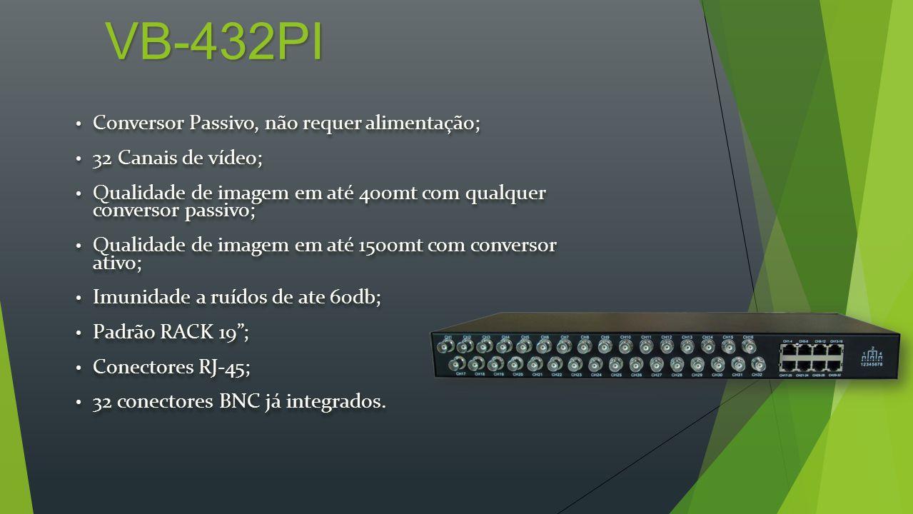 VB-2401 (TI & RI) Conversor Emissor e Receptor Ativo; Conversor Emissor e Receptor Ativo; Requer alimentação 12VDc; Requer alimentação 12VDc; 1 Canal de vídeo; 1 Canal de vídeo; Controle de ganho individual; Controle de ganho individual; Qualidade de imagem em até 1500mt com qualquer conversor passivo; Qualidade de imagem em até 1500mt com qualquer conversor passivo; Qualidade de imagem em até 2400mt com conversor ativo; Qualidade de imagem em até 2400mt com conversor ativo; Imunidade a ruídos de ate 60db; Imunidade a ruídos de ate 60db; Padrão RACK 19; Padrão RACK 19; Conectores RJ-45; Conectores RJ-45; Conector BNC já integrado.