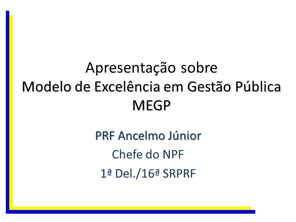 Modelo de Excelência em Gestão Pública MEGP Apresentação sobre Modelo de Excelência em Gestão Pública MEGP PRF Ancelmo Júnior Chefe do NPF 1ª Del./16ª