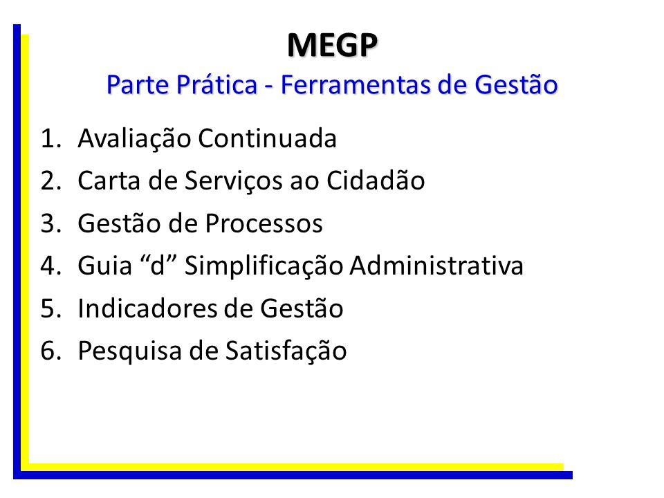 MEGP Parte Prática - Ferramentas de Gestão 1.Avaliação Continuada 2.Carta de Serviços ao Cidadão 3.Gestão de Processos 4.Guia d Simplificação Administ