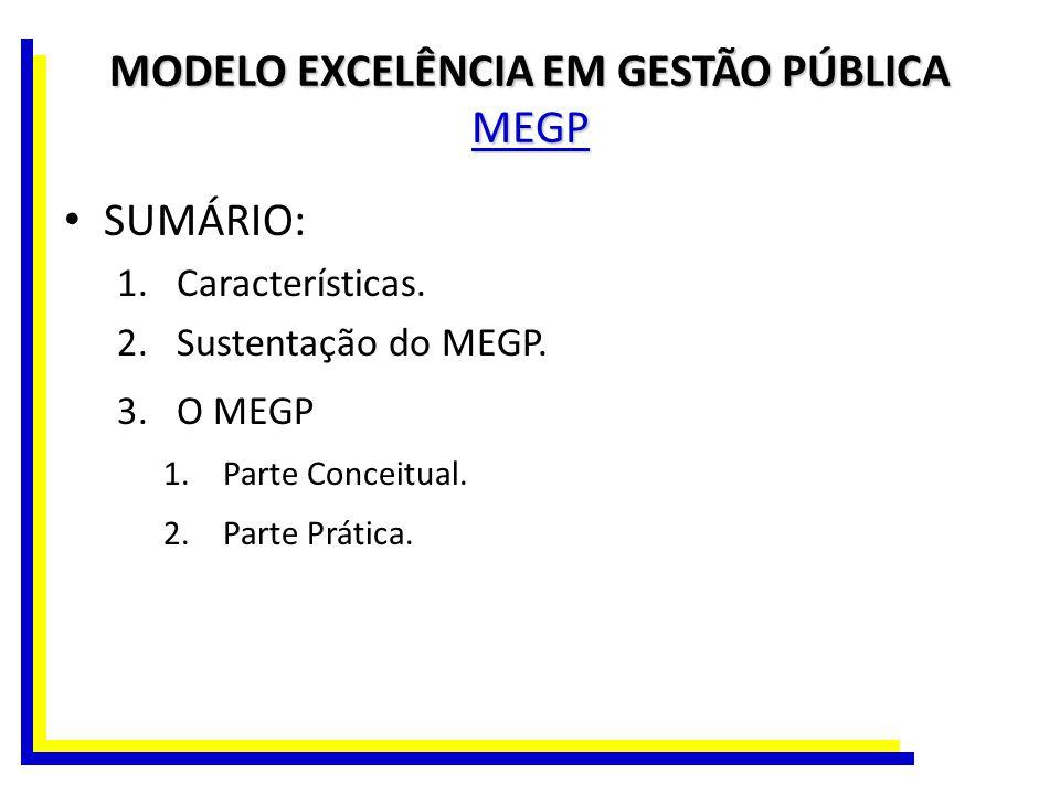 MODELO EXCELÊNCIA EM GESTÃO PÚBLICA MEGP SUMÁRIO: 1.Características. 2.Sustentação do MEGP. 3.O MEGP 1.Parte Conceitual. 2.Parte Prática.