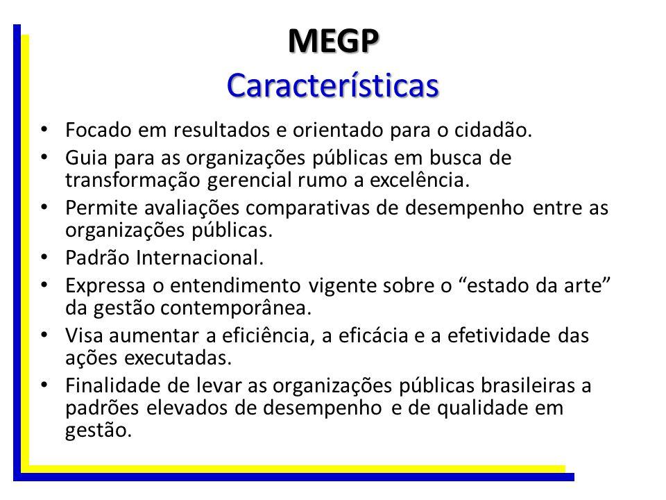 MEGP Características Focado em resultados e orientado para o cidadão. Guia para as organizações públicas em busca de transformação gerencial rumo a ex