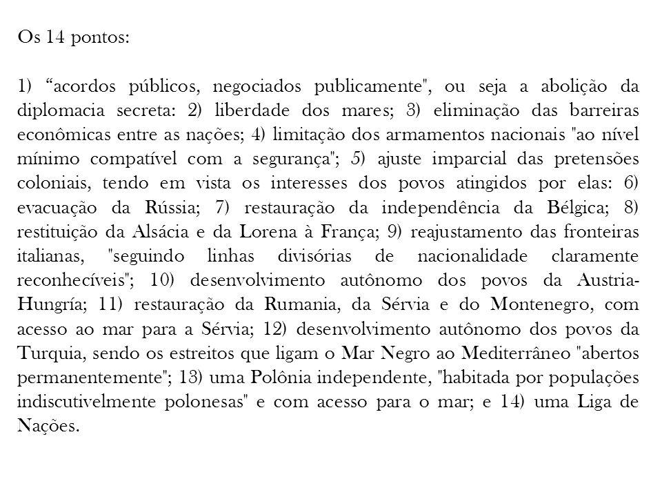 Os 14 pontos: 1) acordos públicos, negociados publicamente