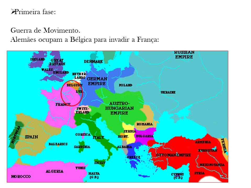 Primeira fase: Guerra de Movimento. Alemães ocupam a Bélgica para invadir a França: