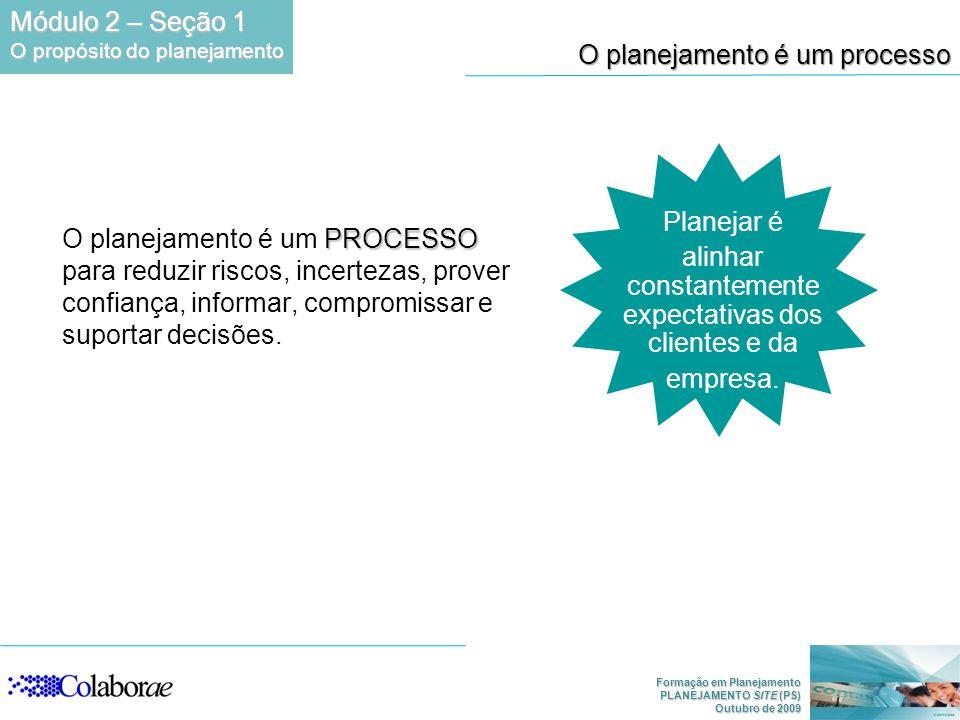 Formação em Planejamento PLANEJAMENTO SITE (PS) Outubro de 2009 O planejamento é um processo PROCESSO O planejamento é um PROCESSO para reduzir riscos, incertezas, prover confiança, informar, compromissar e suportar decisões.