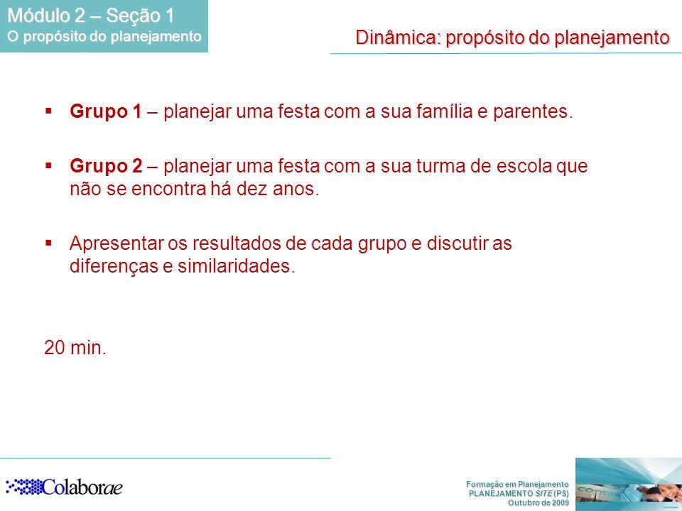 Formação em Planejamento PLANEJAMENTO SITE (PS) Outubro de 2009 Dinâmica: propósito do planejamento Grupo 1 – planejar uma festa com a sua família e parentes.