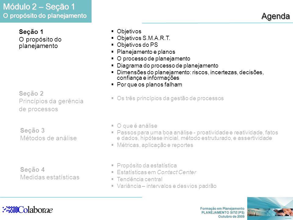 Formação em Planejamento PLANEJAMENTO SITE (PS) Outubro de 2009 Agenda Módulo 2 – Seção 1 O propósito do planejamento Seção 1 O propósito do planejamento Seção 3 Métodos de análise Seção 4 Medidas estatísticas Seção 2 Princípios da gerência de processos Objetivos Objetivos S.M.A.R.T.