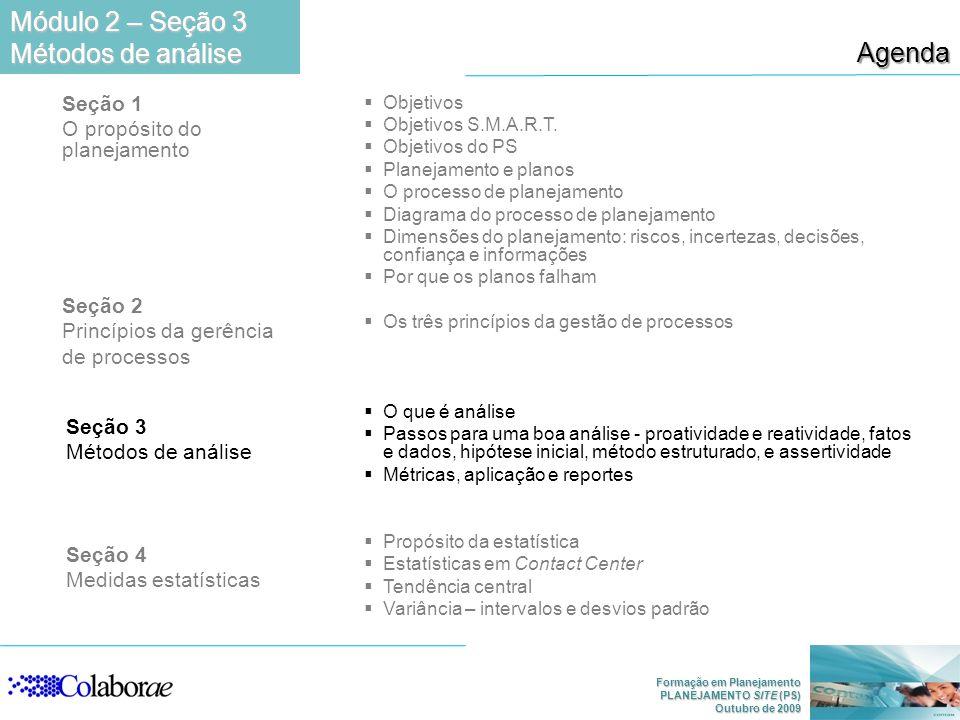Formação em Planejamento PLANEJAMENTO SITE (PS) Outubro de 2009 Agenda Módulo 2 – Seção 3 Métodos de análise Seção 1 O propósito do planejamento Seção