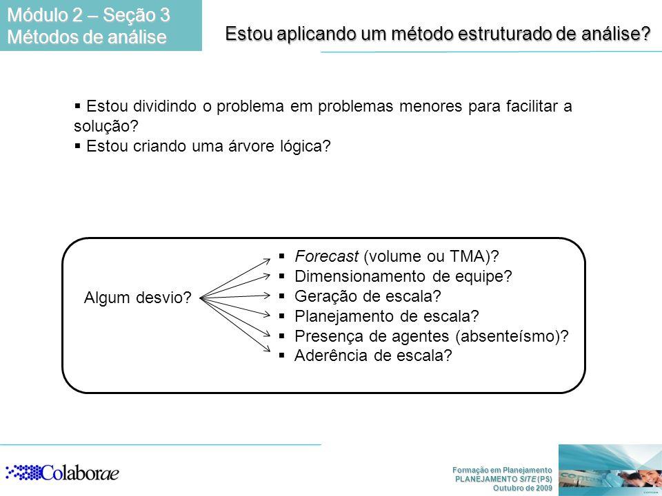 Formação em Planejamento PLANEJAMENTO SITE (PS) Outubro de 2009 Estou aplicando um método estruturado de análise.