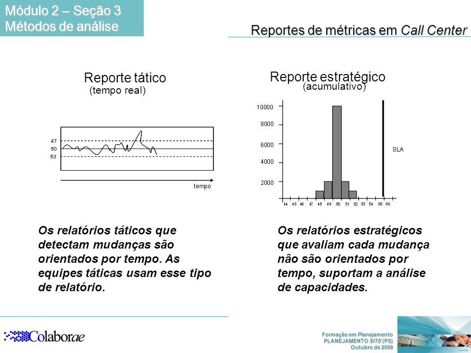 Formação em Planejamento PLANEJAMENTO SITE (PS) Outubro de 2009 Reportes de métricas em Call Center Módulo 2 – Seção 3 Métodos de análise Reporte tático Os relatórios táticos que detectam mudanças são orientados por tempo.