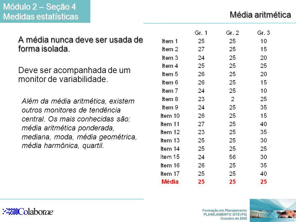 Formação em Planejamento PLANEJAMENTO SITE (PS) Outubro de 2009 Média aritmética A média nunca deve ser usada de forma isolada. Deve ser acompanhada d