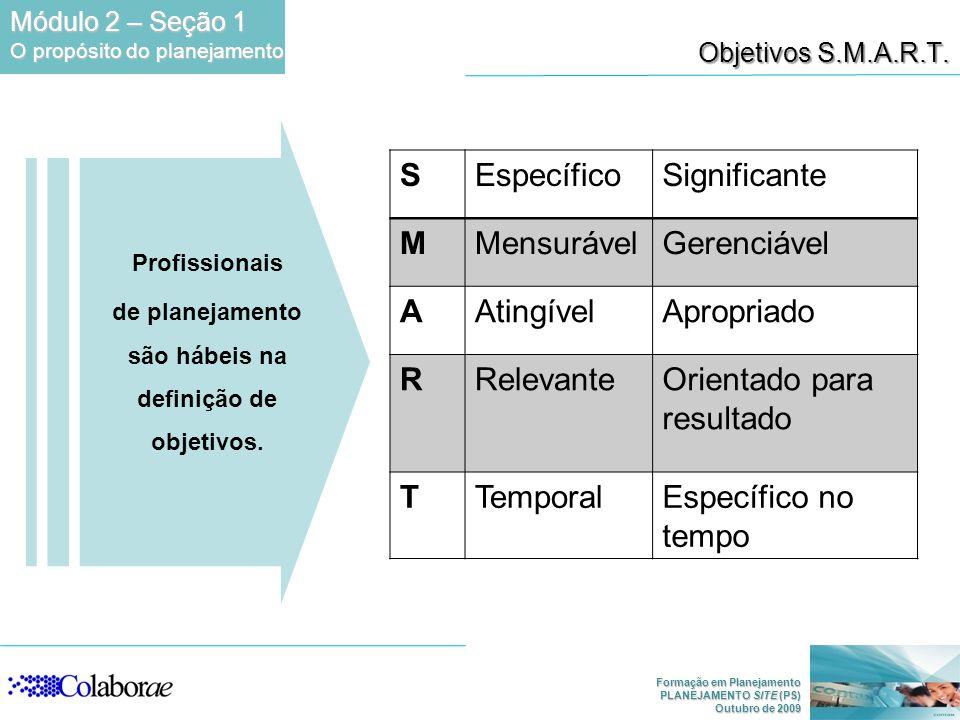 Formação em Planejamento PLANEJAMENTO SITE (PS) Outubro de 2009 Profissionais de planejamento são hábeis na definição de objetivos. Objetivos S.M.A.R.