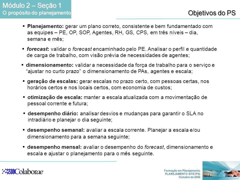 Formação em Planejamento PLANEJAMENTO SITE (PS) Outubro de 2009 Objetivos do PS Planejamento: gerar um plano correto, consistente e bem fundamentado c