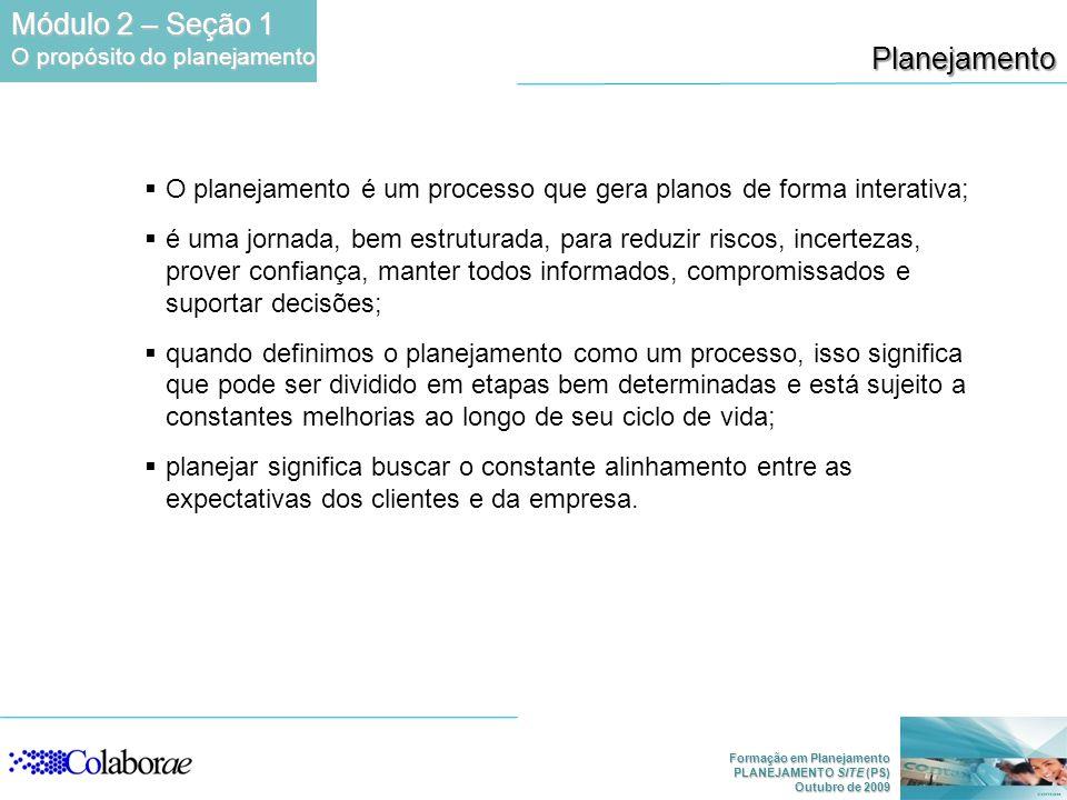 Formação em Planejamento PLANEJAMENTO SITE (PS) Outubro de 2009 O planejamento é um processo que gera planos de forma interativa; é uma jornada, bem e