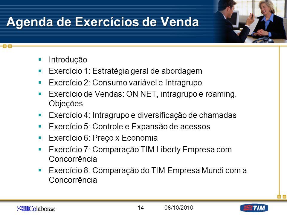 Agenda de Exercícios de Venda Introdução Exercício 1: Estratégia geral de abordagem Exercício 2: Consumo variável e Intragrupo Exercício de Vendas: ON