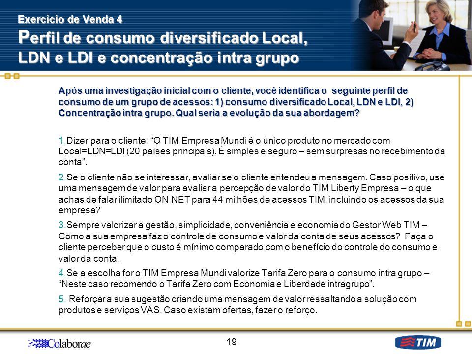 Após uma investigação inicial com o cliente, você identifica o seguinte perfil de consumo de um grupo de acessos: 1) consumo diversificado Local, LDN
