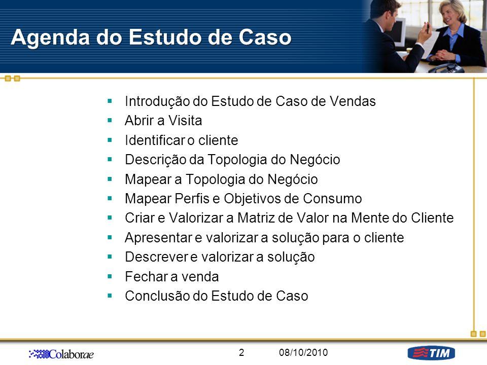 Agenda do Estudo de Caso Introdução do Estudo de Caso de Vendas Abrir a Visita Identificar o cliente Descrição da Topologia do Negócio Mapear a Topolo