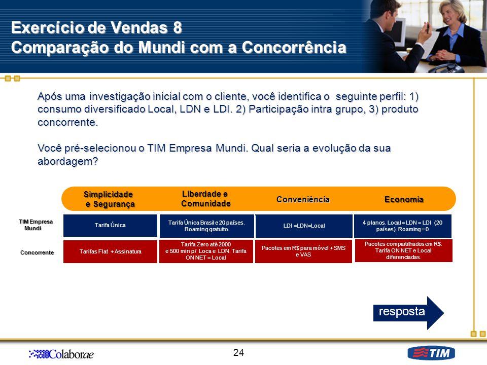 Exercício de Vendas 8 Comparação do Mundi com a Concorrência 24 Após uma investigação inicial com o cliente, você identifica o seguinte perfil: 1) con