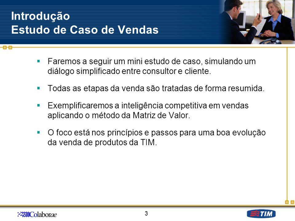 Introdução Estudo de Caso de Vendas Faremos a seguir um mini estudo de caso, simulando um diálogo simplificado entre consultor e cliente. Todas as eta