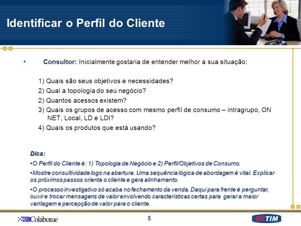 Identificar o Perfil do Cliente Consultor: Inicialmente gostaria de entender melhor a sua situação: 1) Quais são seus objetivos e necessidades? 2) Qua