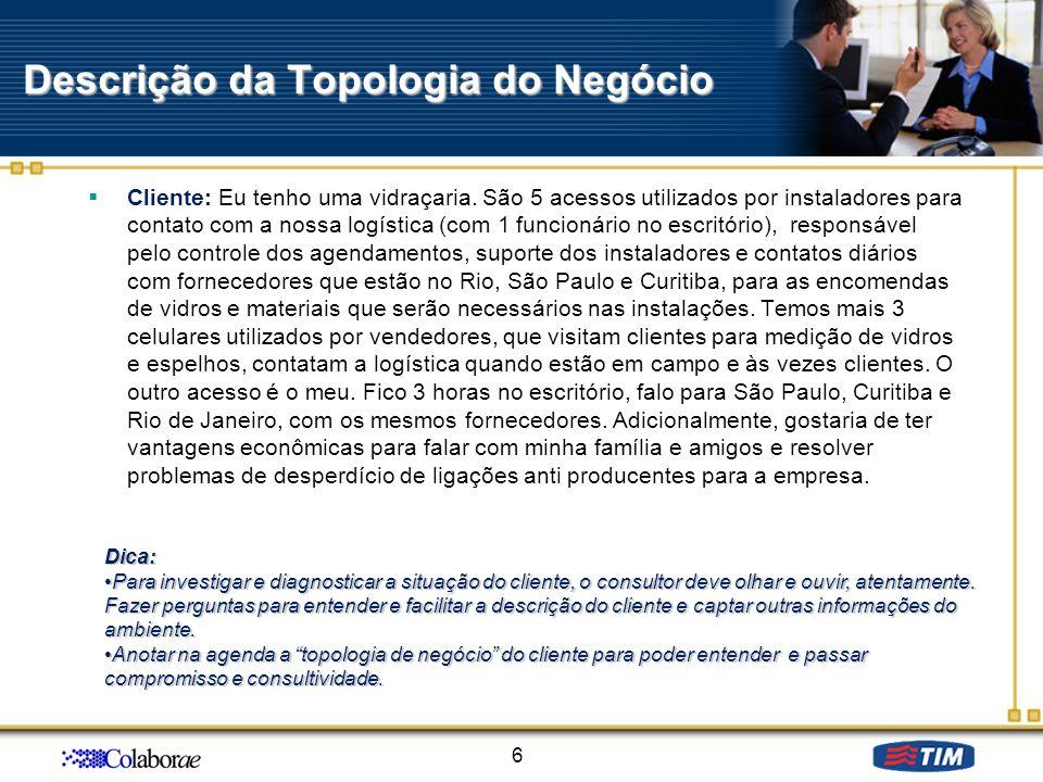 Descrição da Topologia do Negócio Cliente: Eu tenho uma vidraçaria. São 5 acessos utilizados por instaladores para contato com a nossa logística (com