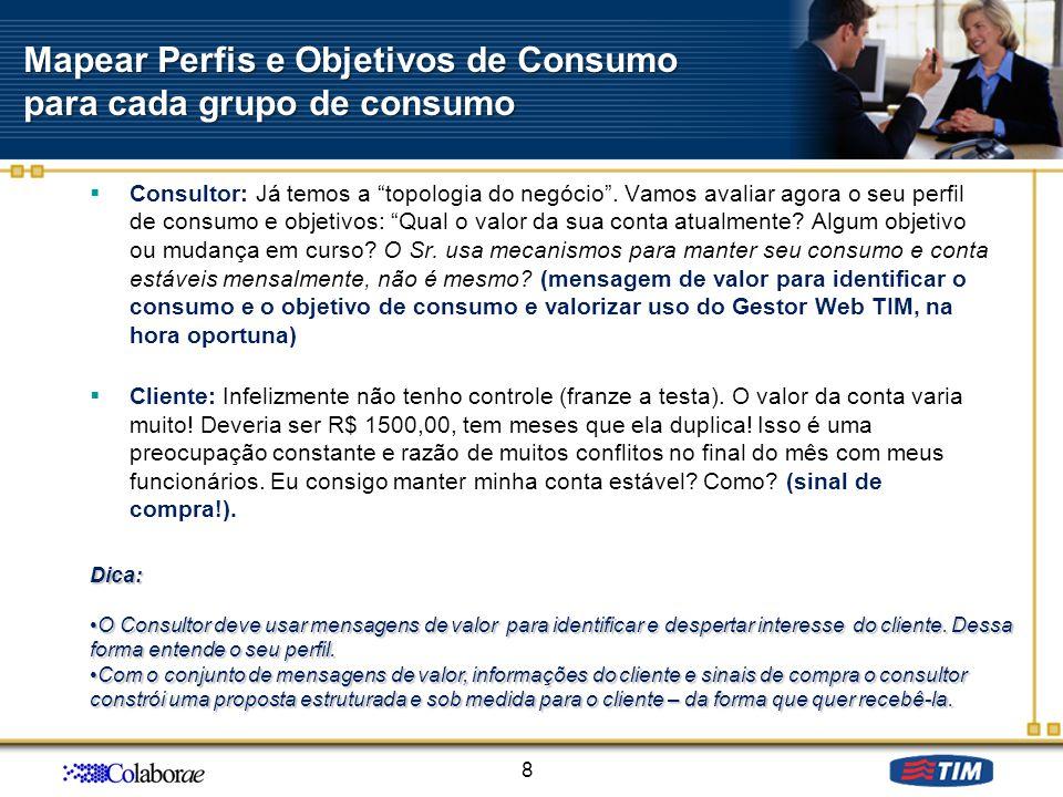 Mapear Perfis e Objetivos de Consumo para cada grupo de consumo Consultor: Já temos a topologia do negócio. Vamos avaliar agora o seu perfil de consum