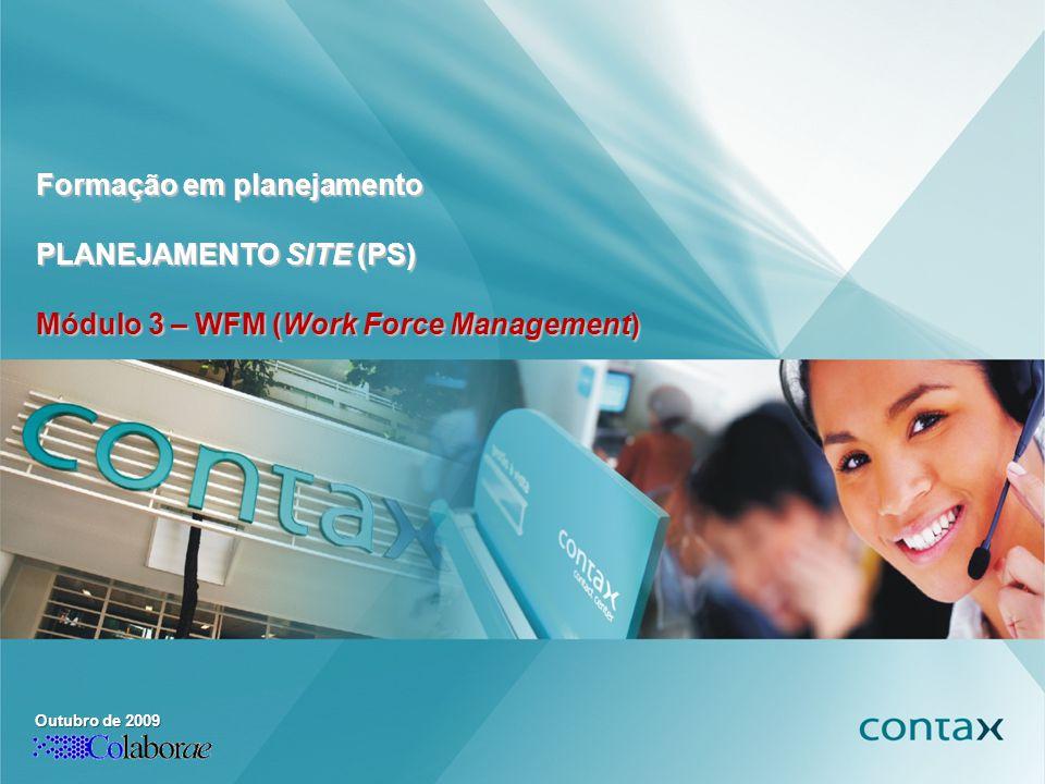 Formação em Planejamento PLANEJAMENTO SITE (PS) Outubro de 2009 Formação em planejamento PLANEJAMENTO SITE (PS) Módulo 3 – WFM (Work Force Management)