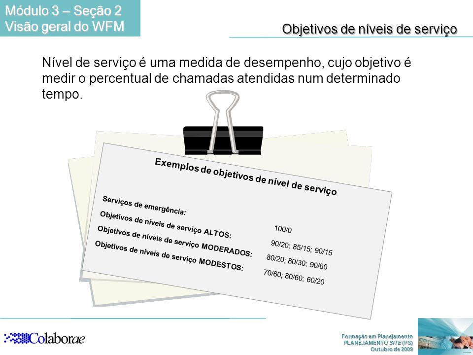 Formação em Planejamento PLANEJAMENTO SITE (PS) Outubro de 2009 Nível de serviço é uma medida de desempenho, cujo objetivo é medir o percentual de cha