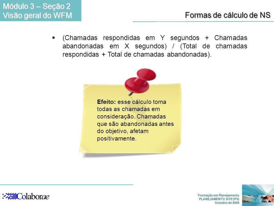 Formação em Planejamento PLANEJAMENTO SITE (PS) Outubro de 2009 Formas de cálculo de NS (Chamadas respondidas em Y segundos + Chamadas abandonadas em