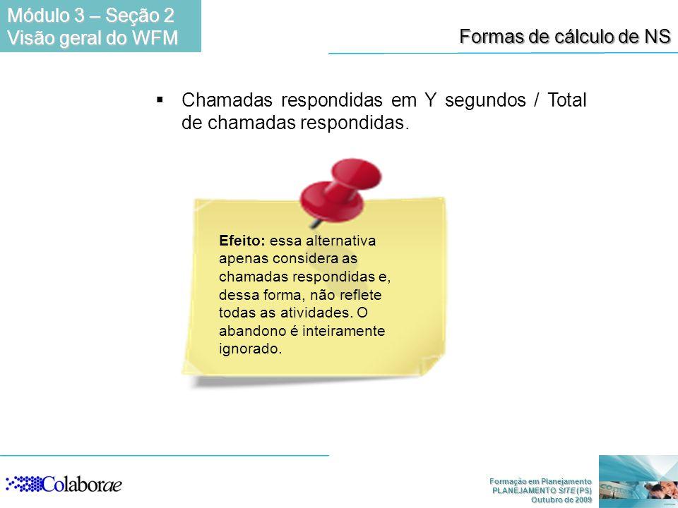 Formação em Planejamento PLANEJAMENTO SITE (PS) Outubro de 2009 Chamadas respondidas em Y segundos / Total de chamadas respondidas. Efeito: essa alter