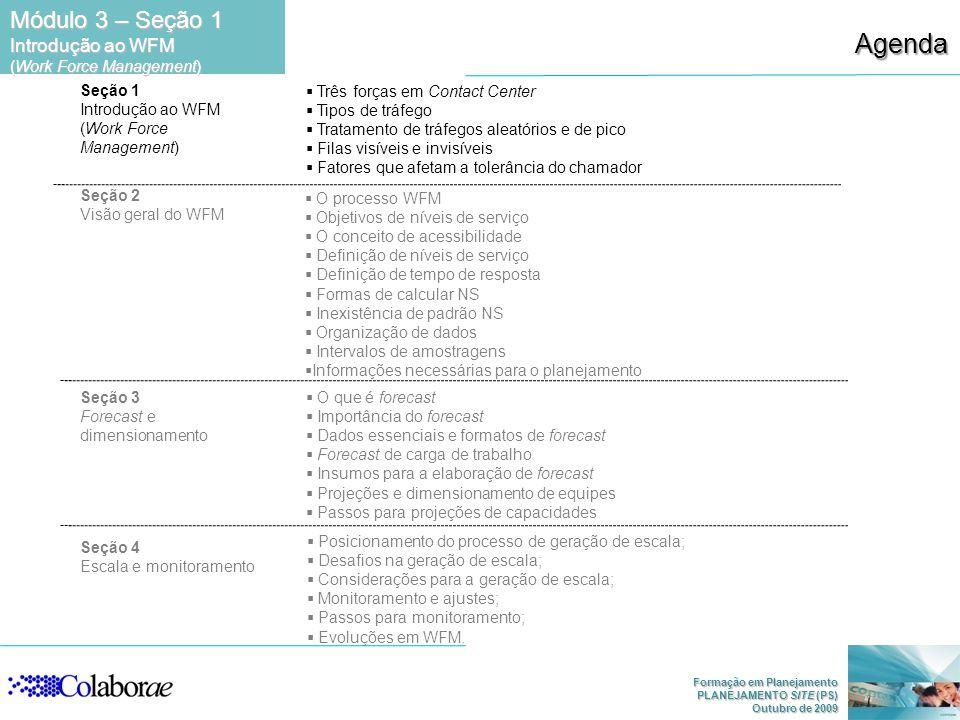 Formação em Planejamento PLANEJAMENTO SITE (PS) Outubro de 2009 Agenda Módulo 3 – Seção 1 Introdução ao WFM (Work Force Management) Seção 1 Introdução