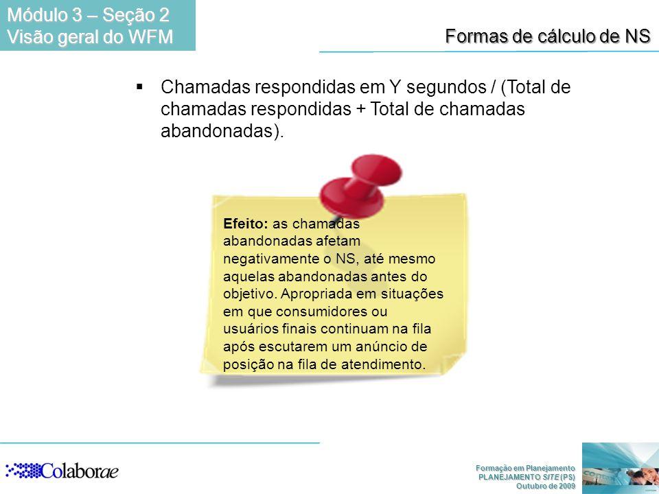 Formação em Planejamento PLANEJAMENTO SITE (PS) Outubro de 2009 Formas de cálculo de NS Chamadas respondidas em Y segundos / (Total de chamadas respon
