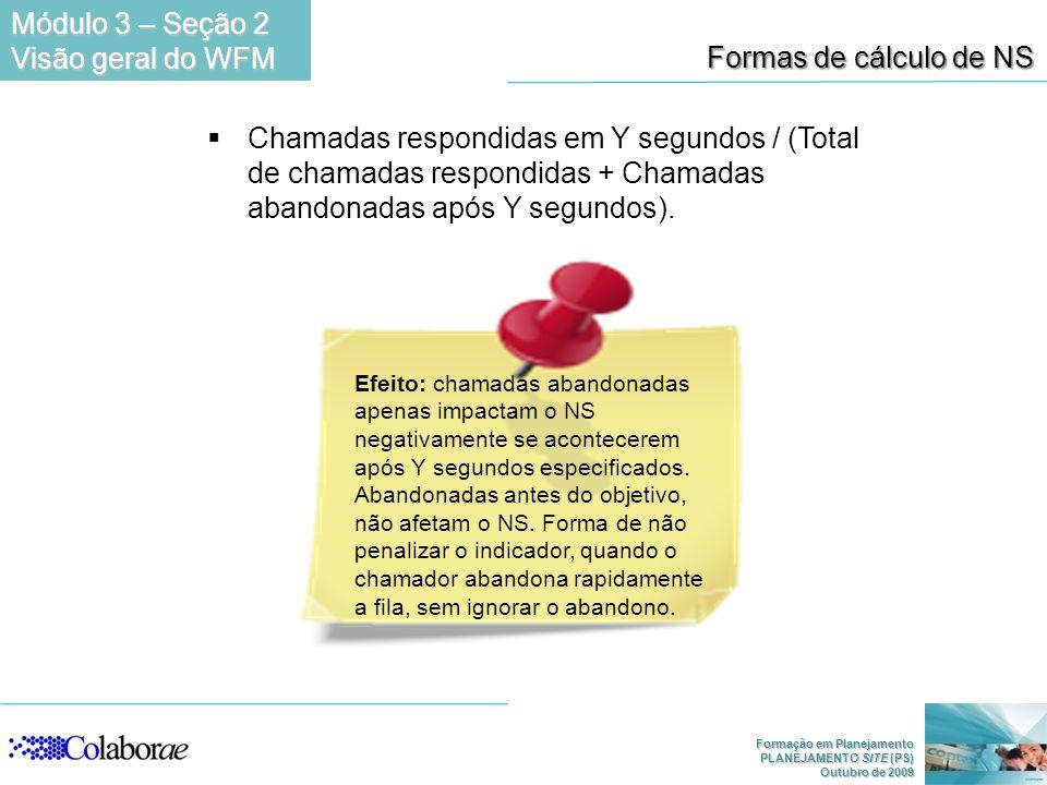 Formação em Planejamento PLANEJAMENTO SITE (PS) Outubro de 2009 Chamadas respondidas em Y segundos / (Total de chamadas respondidas + Chamadas abandon
