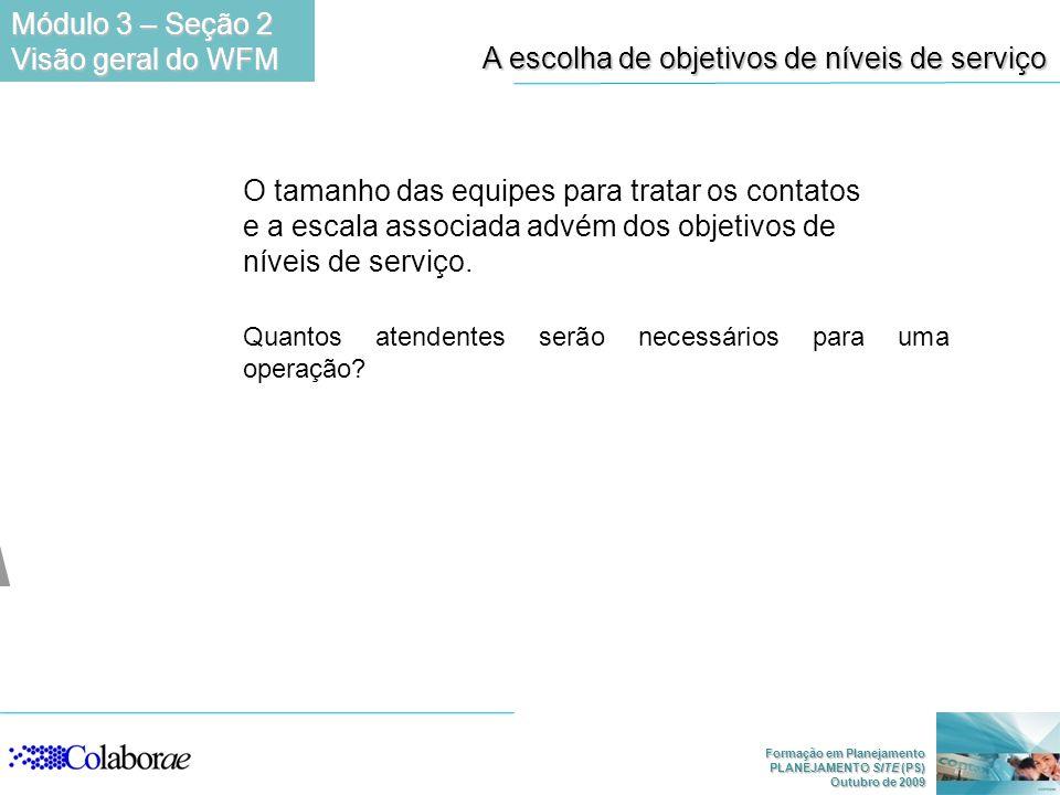 Formação em Planejamento PLANEJAMENTO SITE (PS) Outubro de 2009 A escolha de objetivos de níveis de serviço O tamanho das equipes para tratar os conta